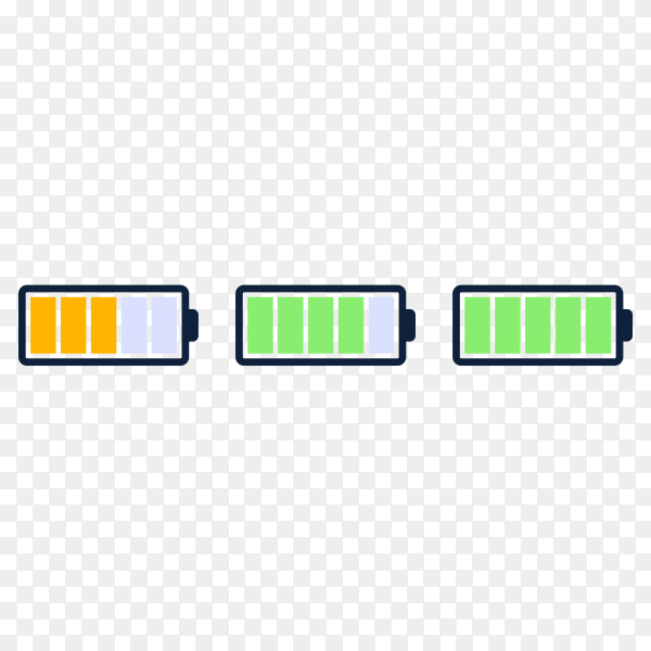 Energy level icon. charge load, phone battery indicator, smartphone power level on transparent background PNG