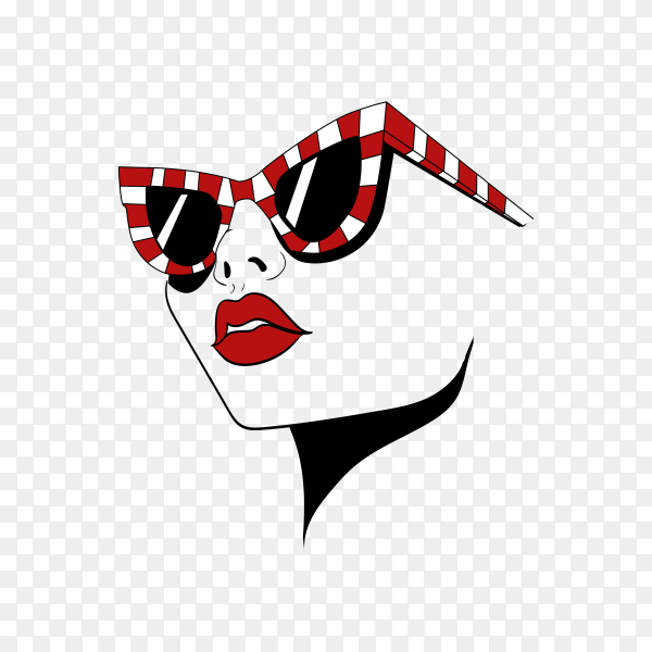 Face with striped glasses on transparent background PNG