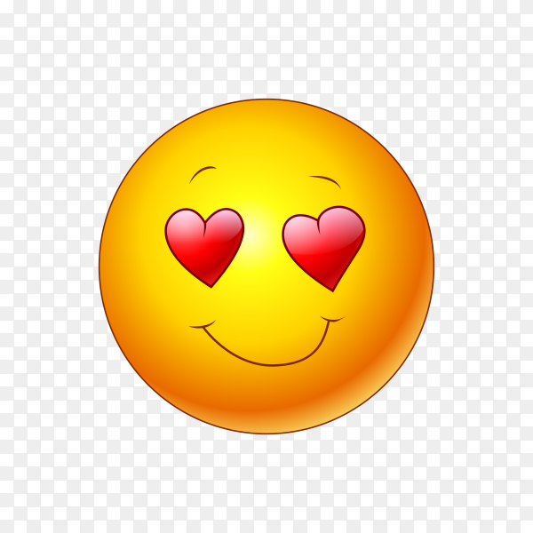 Falling in love emoji isolated on transparent background PNG