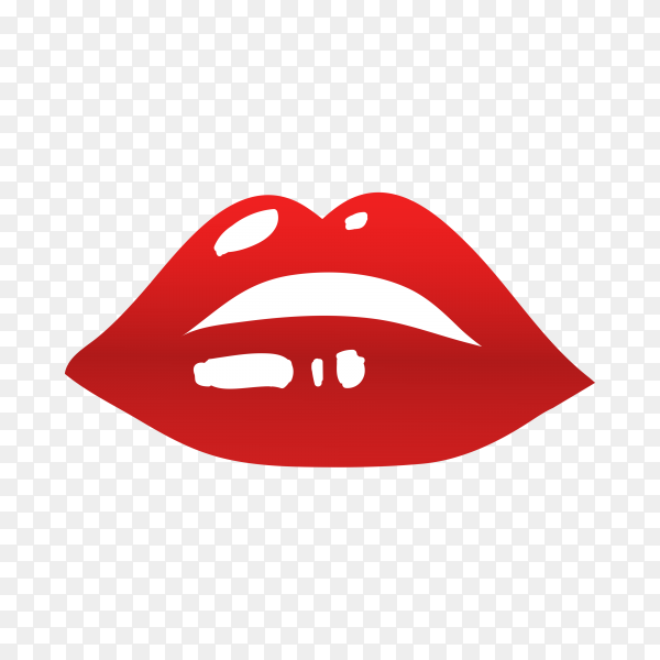 Female Lips with Gloss Red Lipstick on transparent background PNG