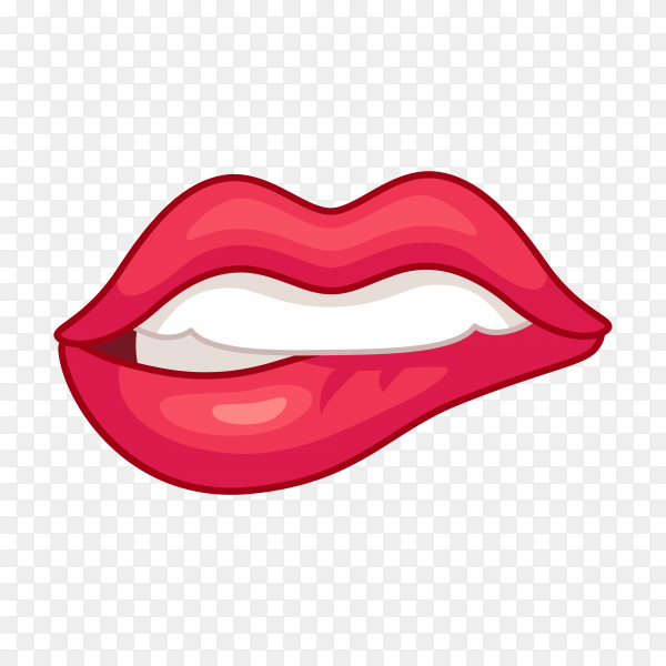 Female lips on transparent background PNG