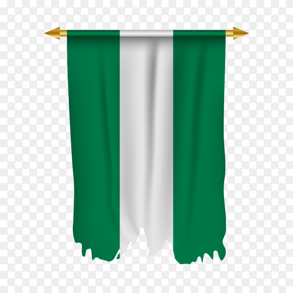 Flag of Nigeria isolated on transparent PNG