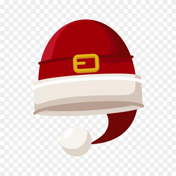 Flat design Santa Claus cartoon red hat on transparent background PNG
