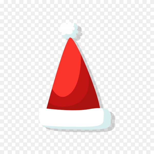 Flat design Santa Claus hat icon on transparent background PNG