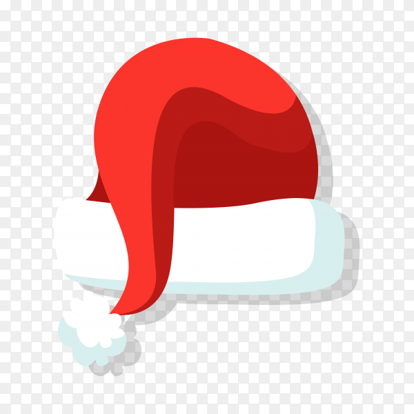 Flat design santa claus hat illustration on transparent background PNG