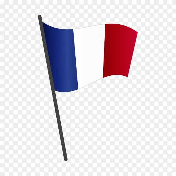 France flag waving on a flagpole on transparent background PNG