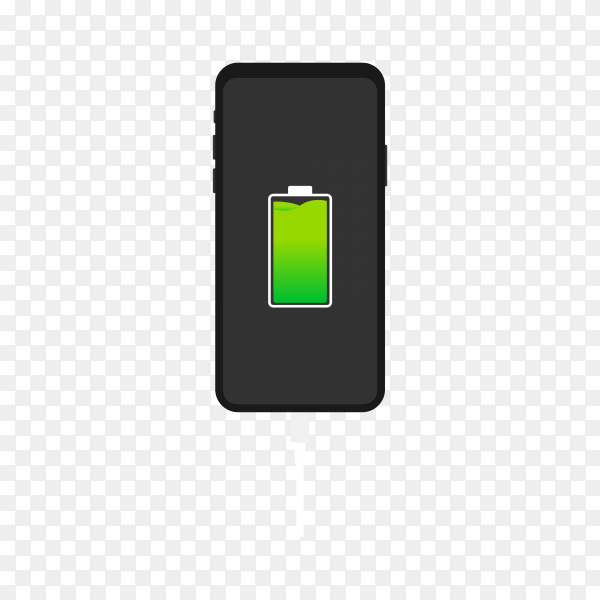Full battery notification on transparent background PNG