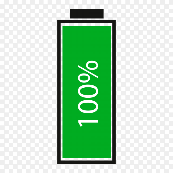 Full energy battery charge icon on transparent background PNG