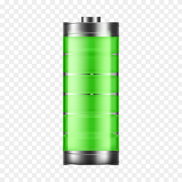 Full energy battery charge on transparent background PNG