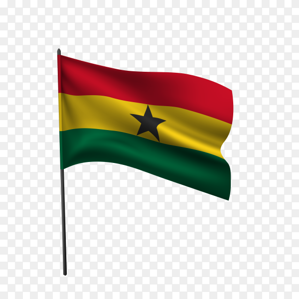 Ghana flag waving on a flagpole on transparent background PNG