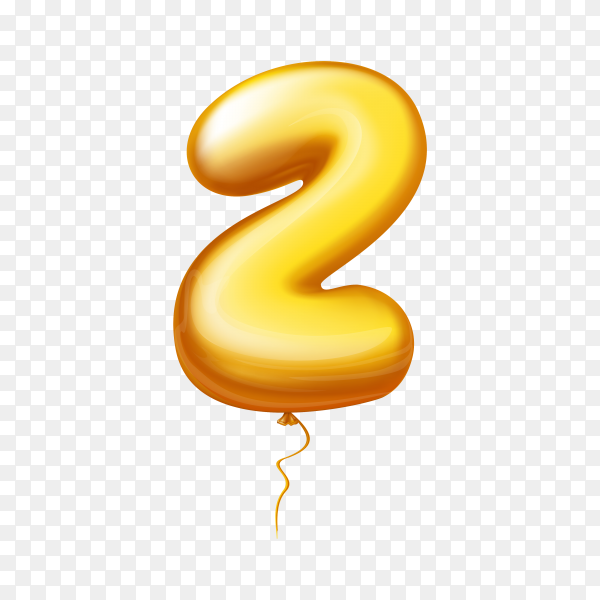 Golden Balloon in the shape of number Two on transparent background PNG