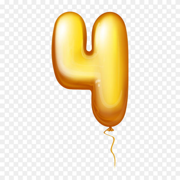 Golden Balloon in the shape of number Four on transparent background PNG