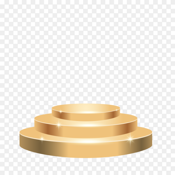 Golden podium. round 3d empty podium with steps on transparent background PNG
