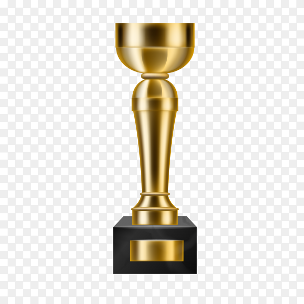 Golden trophy isolated  on transparent background PNG