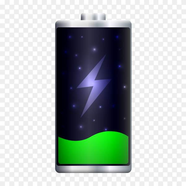 Green battery charging on transparent background PNG