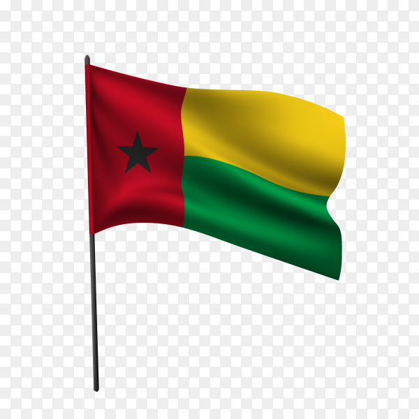 Guinea Bissau flag waving on a flagpole on transparent background PNG