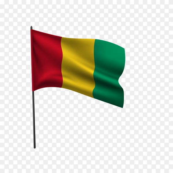 Guinea flag isolated on transparent background PNG