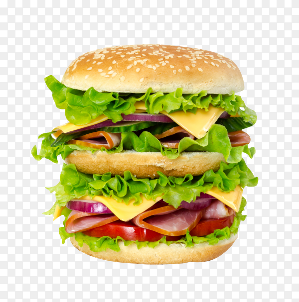 Hamburger with beef meat burger and fresh vegetables on transparent background PNG