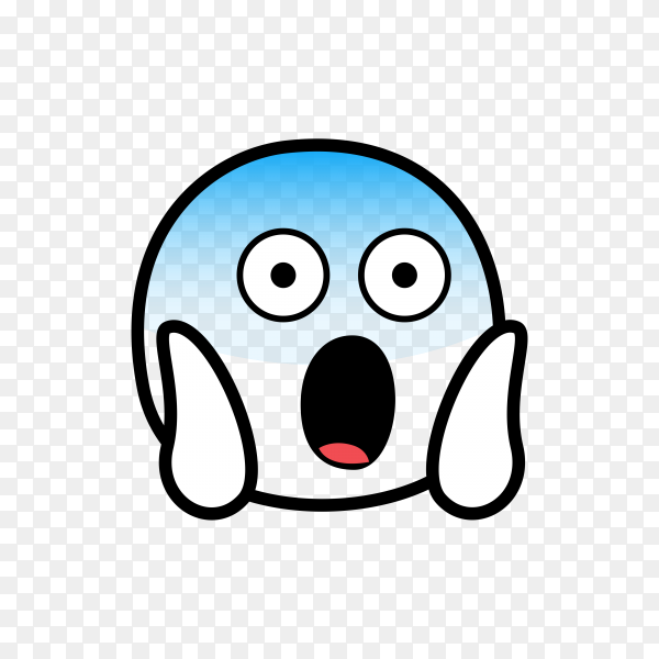 Hand drawn Face Screaming in Fear Emoji on transparent background PNG