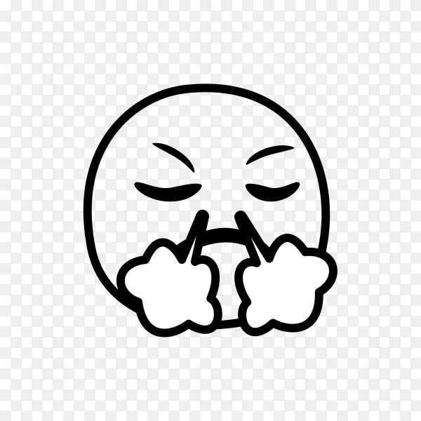 Hand drawn Face with Steam From Nose Emoji on transparent background PNG