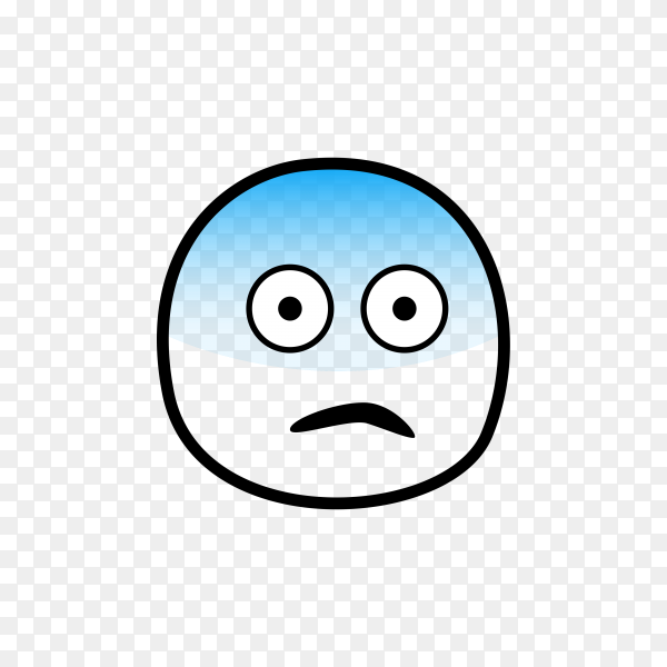 Hand drawn Fearful Face Emoji on transparent background PNG