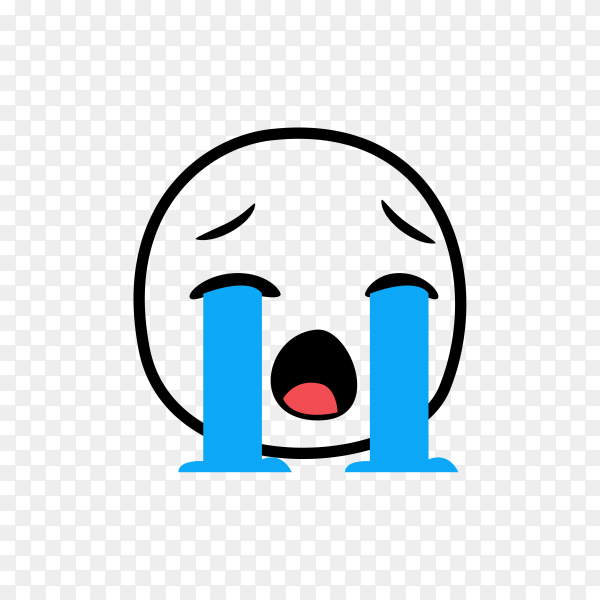 Hand drawn Loudly Crying Emoji on transparent background PNG