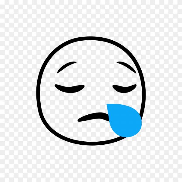Hand drawn Sad Crying Emoji on transparent background PNG