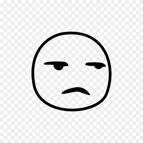 Hand drawn Sad face emoji on transparent background PNG