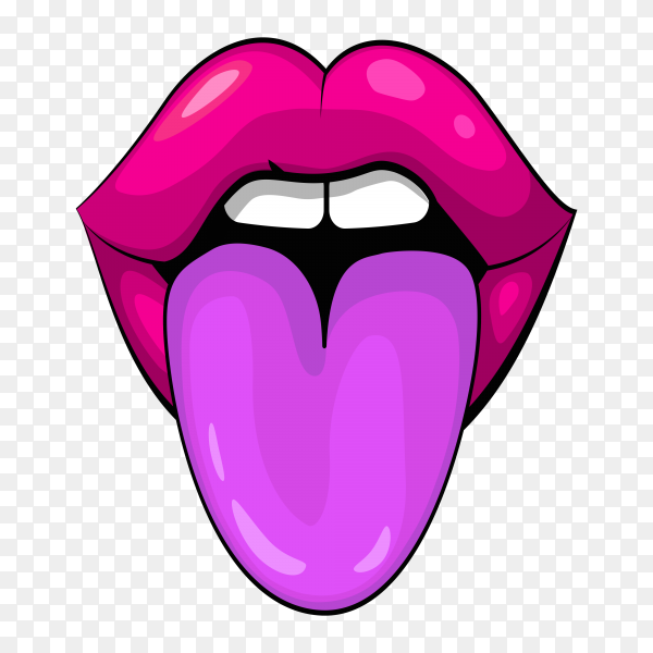 Hand drawn female lips with tongue on transparent PNG