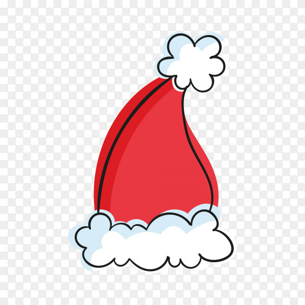 Hand drawn santa's hat on transparent background PNG