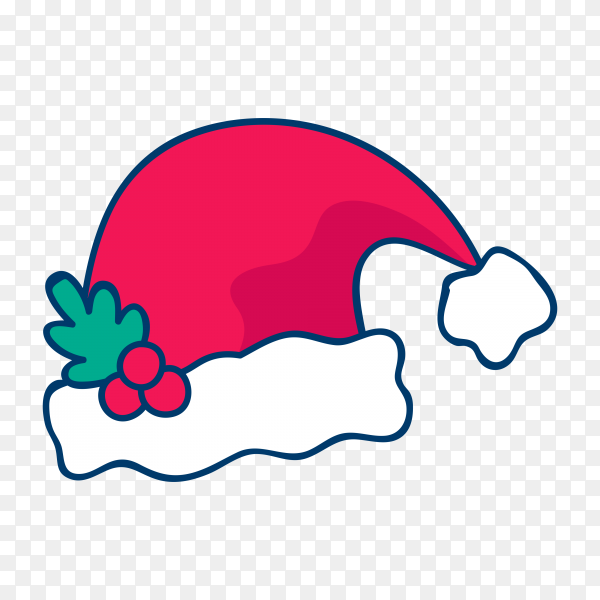 Hand drawn santa claus hat premium vector PNG