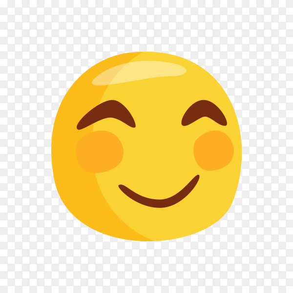 Happy smiley Emoji face with pink cheeks on transparent background PNG