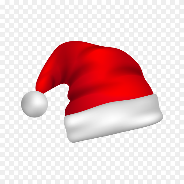 Hat of santa claus isolated on transparent PNG