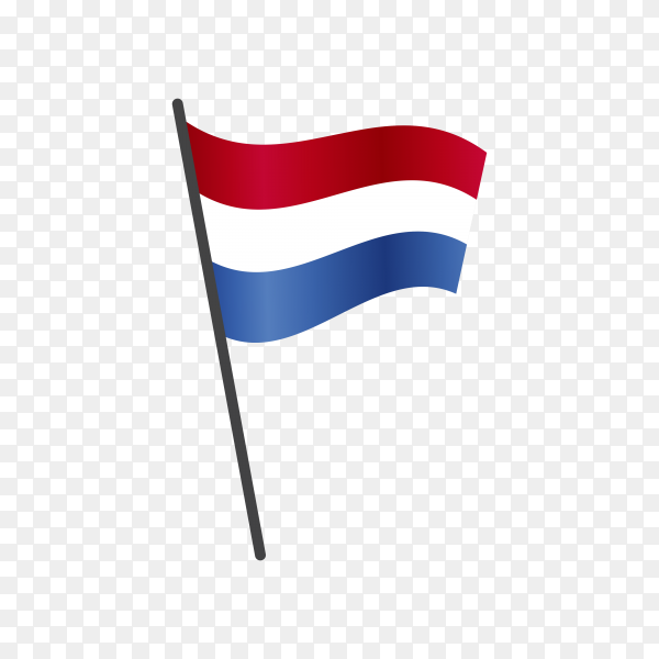 Holland flag waving on a flagpole on transparent background PNG