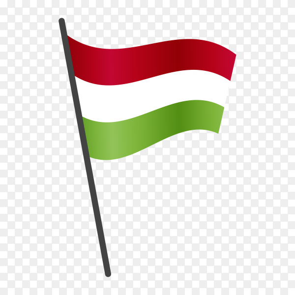 Hungary flag waving on a flagpole on transparent background PNG