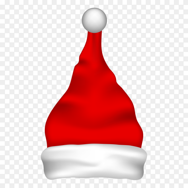 Illustration of red santa hat on transparent PNG