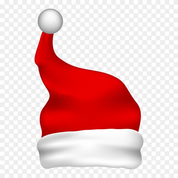 Illustration of red santa hat on transparent background PNG
