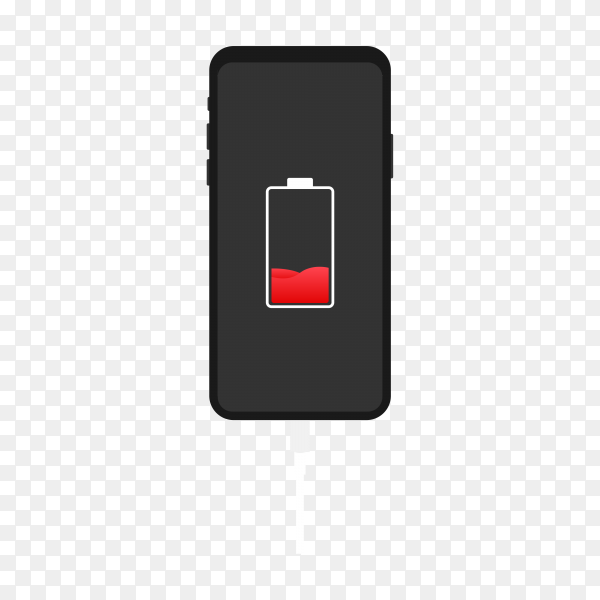 ‎Illustration of smartphone with battery charge premium vector PNG