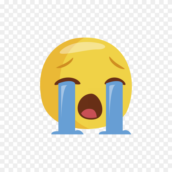 Illustration of yellow emoji unhappy face with crying tear icon on transparent background PNG