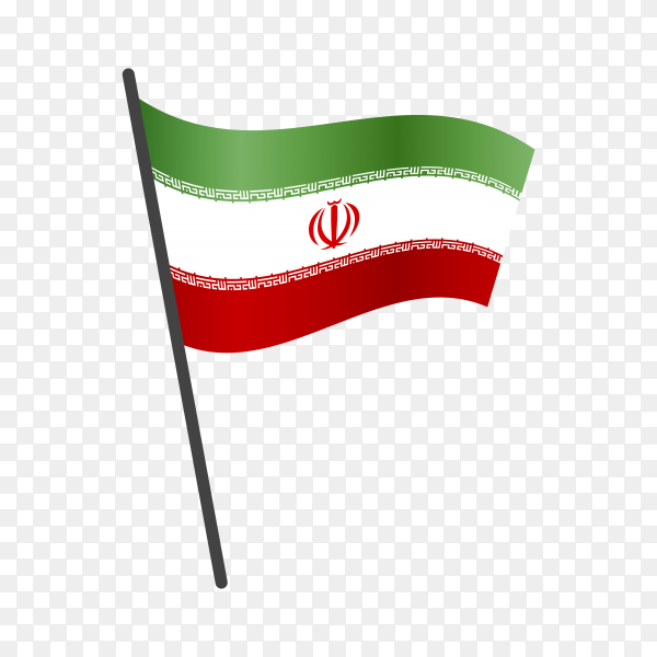Iran flag waving on a flagpole on transparent background PNG