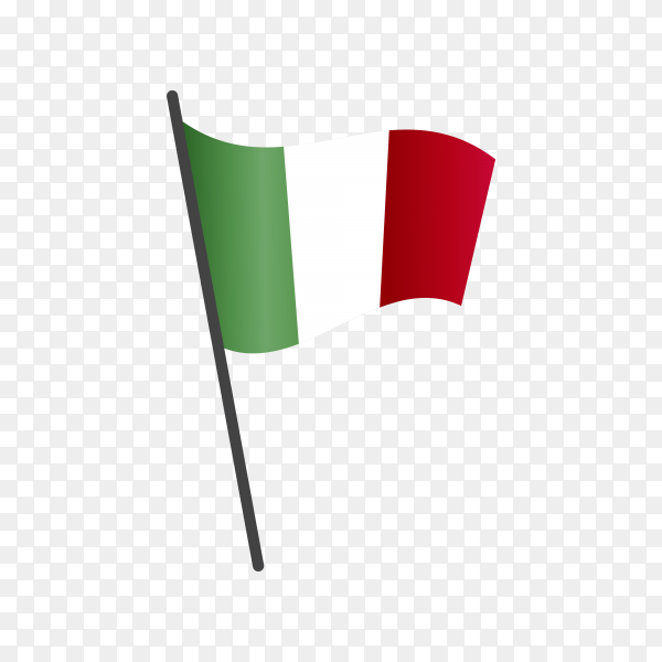 Italy flag waving on a flagpole on transparent background PNG