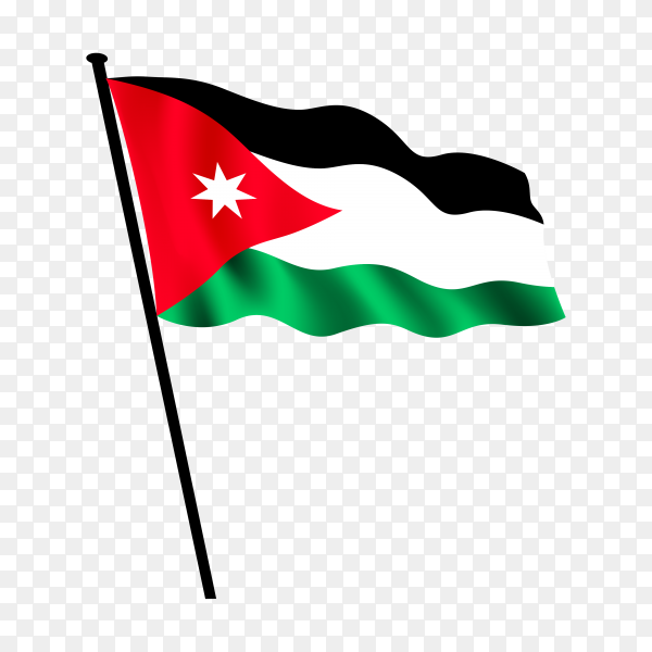 Jordan national flag isolated on transparent background PNG