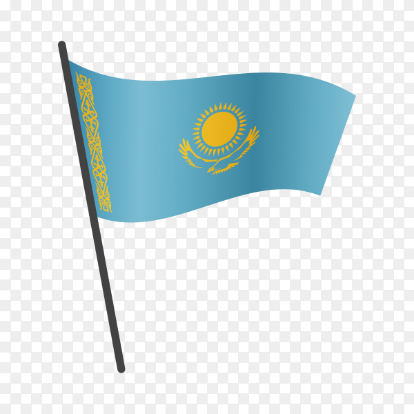 Kazakhstan flag waving on a flagpole on transparent background PNG