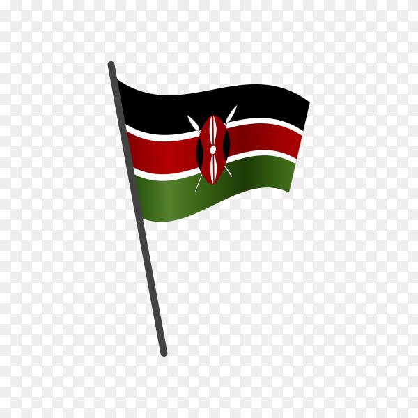 Kenya flag waving on a flagpole on transparent background PNG