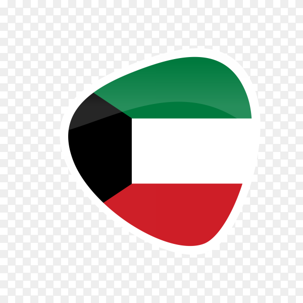 Kuwait flag icon on transparent background PNG