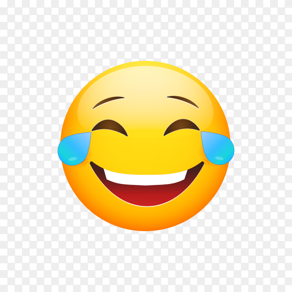 Laughing smiley with Tears of Joy. Happy cartoon emoticon. Emoji face laugh and crying on transparent background PNG