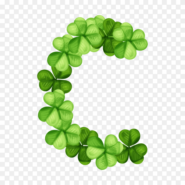 Letter C clover ornament isolated on transparent background PNG