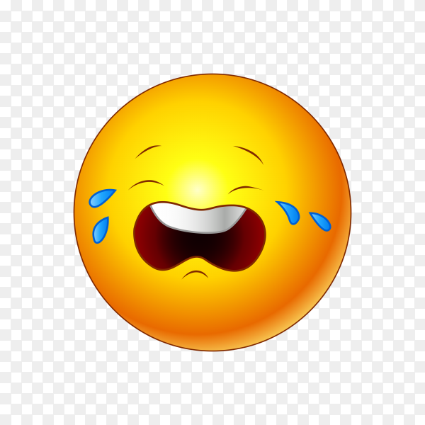 Loudly Crying Face Emoji on transparent background PNG