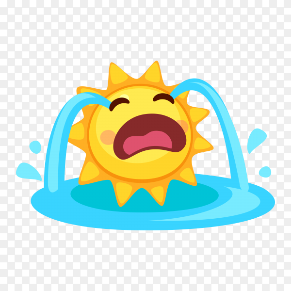 Loudly crying Sun face isolated on transparent background PNG