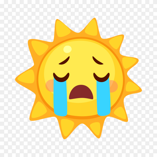 Loudly crying Sun face on transparent background PNG